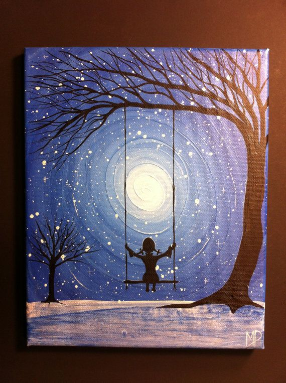 Girl on swing come what may 10 x 8 acrylic on canvas for How to come up with painting ideas