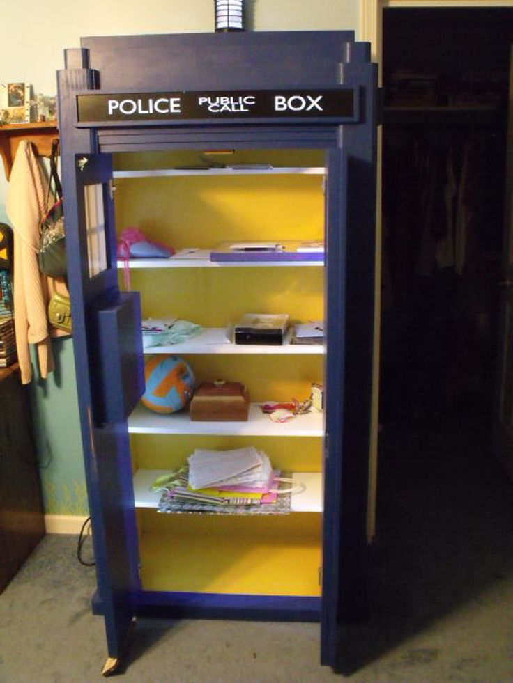 Use a few piece of plywood and a blue paint to build the extraordinary bookshelf in a 'Doctor Who' style!