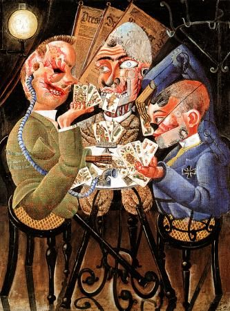 Otto Dix - Title: The Skat Players Year: 1920 Description: The war has left them crippled and deformed but their capacity to play skat remains in tact. It is a three-handed card game favored by the Krupps, German manufacturers of the types of weapons that misfigured men such as these.