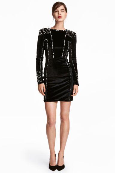 Vestido de terciopelo - Negro - MUJER  941a1e8d654e