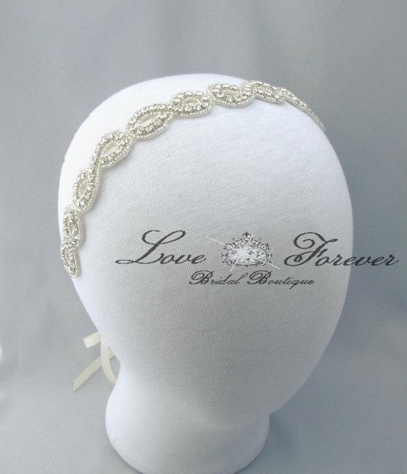 Infinity Symbol Wedding Headband, Crystal Rhinestone Bridal Headpiece, Satin Ribbon Bride Headband