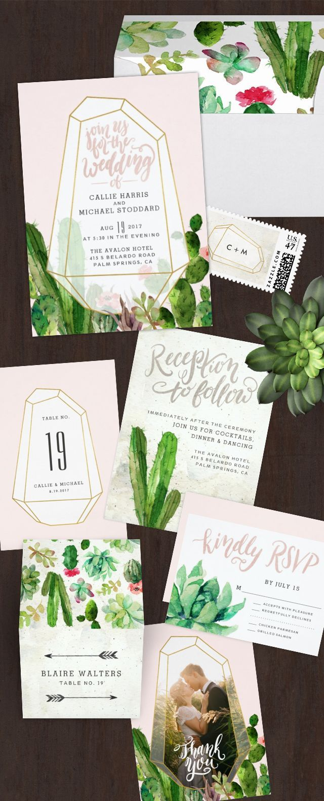 Desert Succulent wedding paper suite - perfect for a Palm Springs or desert wedding venue!