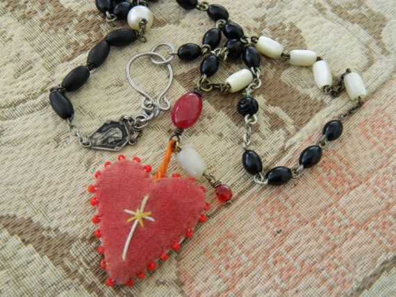 Assemblage Necklace Vintage Velvet Heart Rosary Chain by 58Diamond