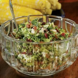 This Broccoli-Bacon Salad is a picnic favorite. This salad combines broccoli, water chestnuts, cranberries and just a little bacon for delicious results. Our version has plenty of creaminess without all the fat. Enjoy it at your next potluck! @EatingWell Magazine