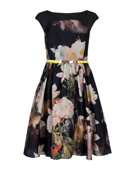 Opulent bloom full skirt dress - Black | Dresses | Ted Baker