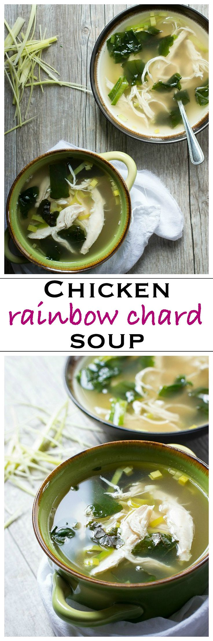 Easy Chicken Soup with Leeks and Rainbow Chard | Foodness Gracious