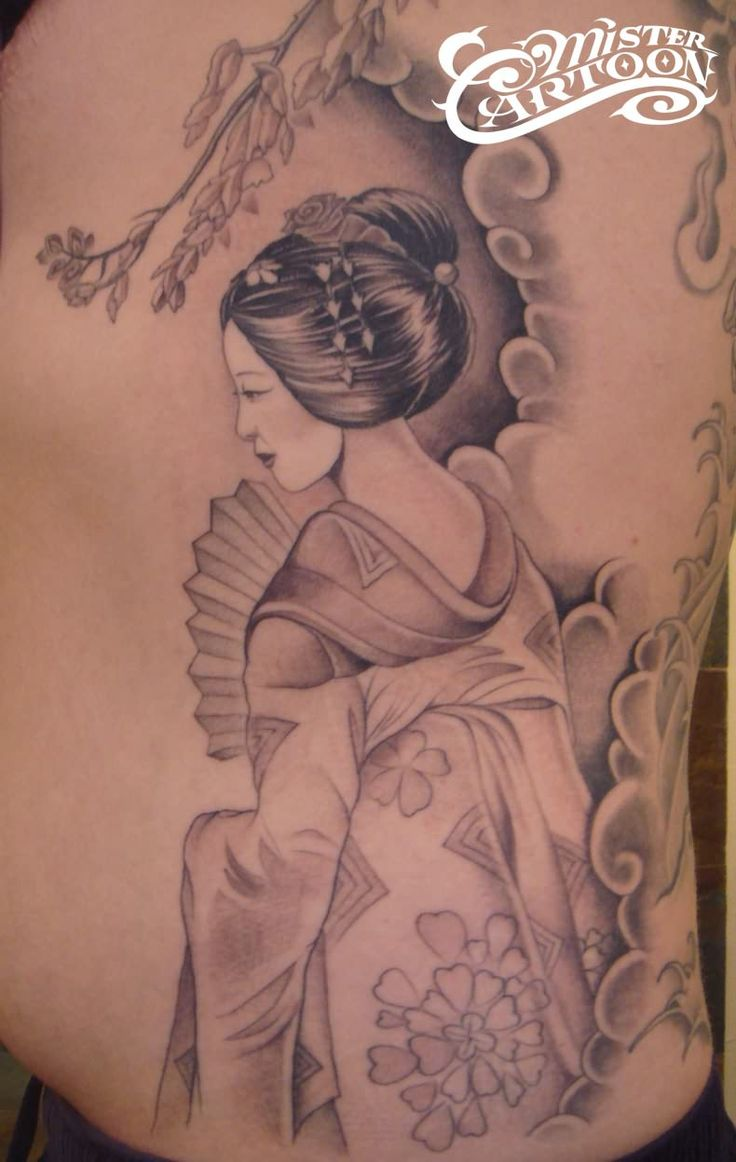 Geisha Tattoo something like this is what I want on my thigh
