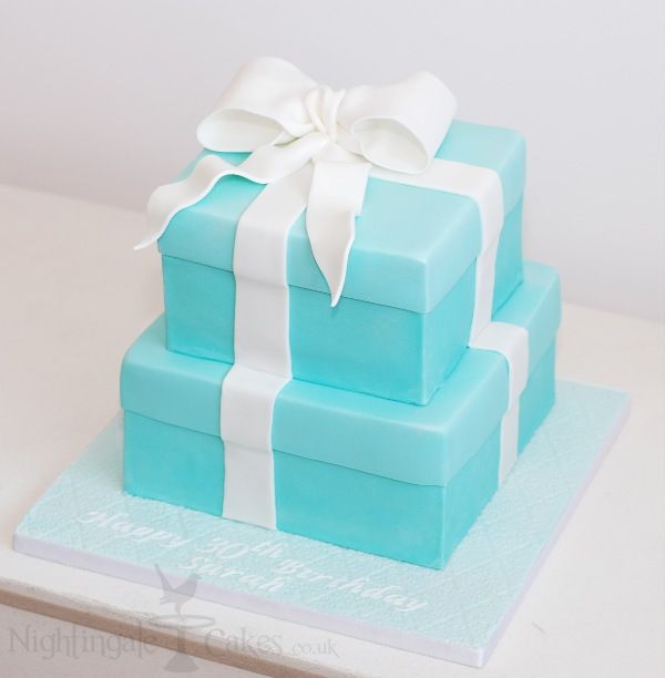 11 best gift box cakes images on pinterest gift box cakes gift twotiered tiffany blue gift box cake negle Images