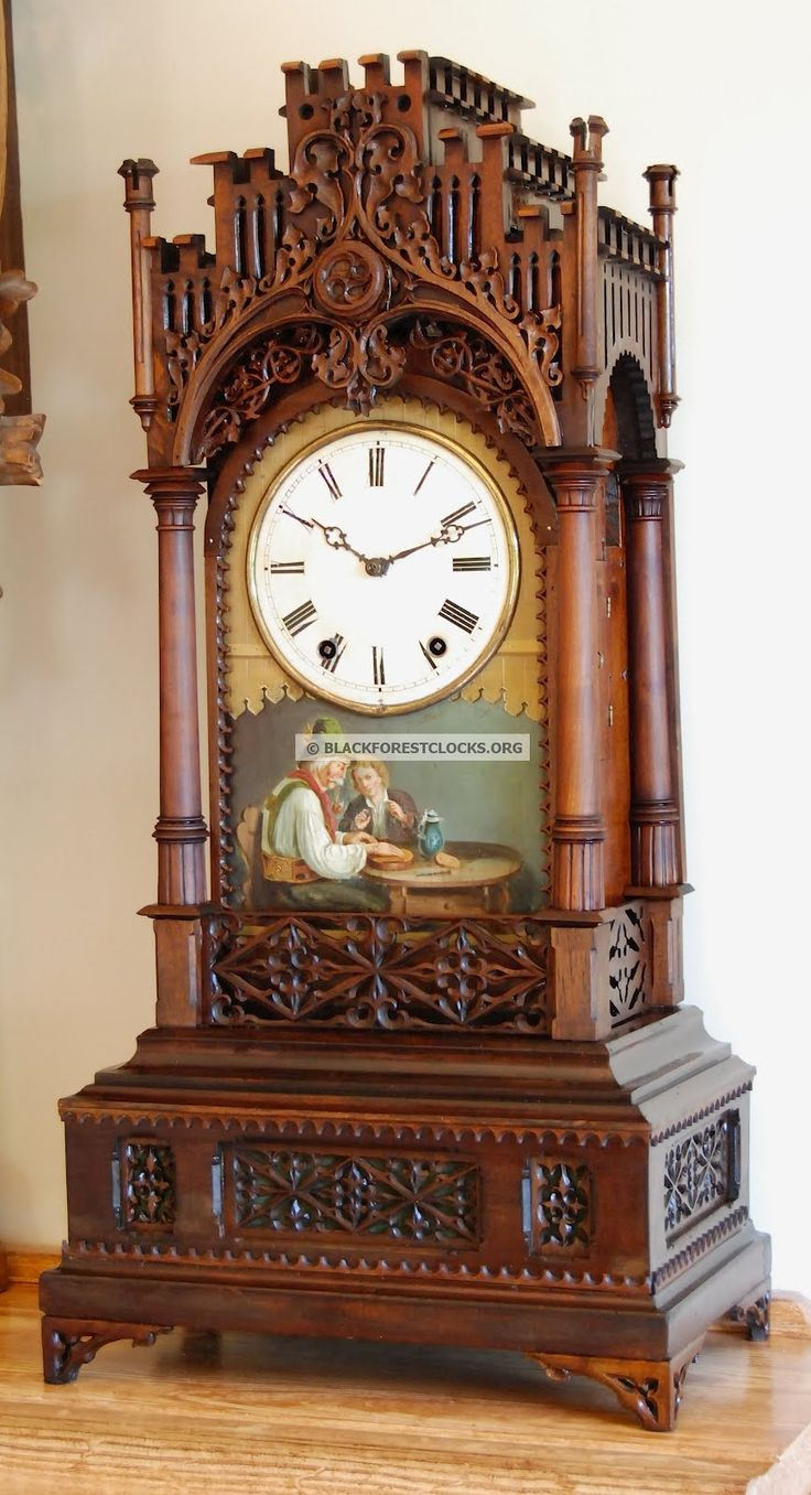 Black Forest Clocks: A Rare Black Forest Gothic Cuckoo Clock with Oil Painting by Samuel Kammerer