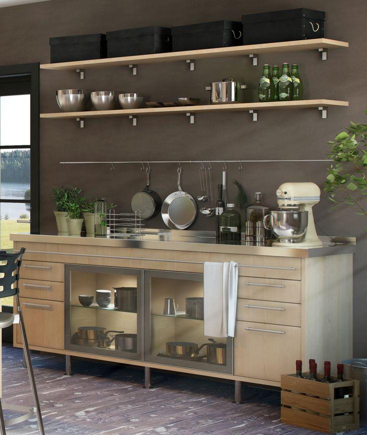 Marbodal - Del av köksö men glasskåp?   Rostfri bänkskiva med upphöjd bakkant.