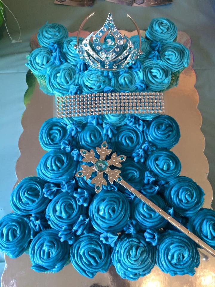 Beautiful cake made from cupcakes by my friend for frozen theme birthday party..Super easy to do and looks amazing..