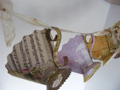 Teacup Bunting - sure you could do it with just the stencil here & some imagination