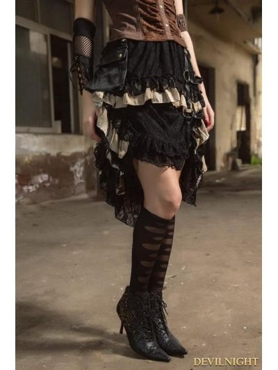 Black Steampunk Lace Layers Irregular Skirt with Bag - Devilnight.co.uk