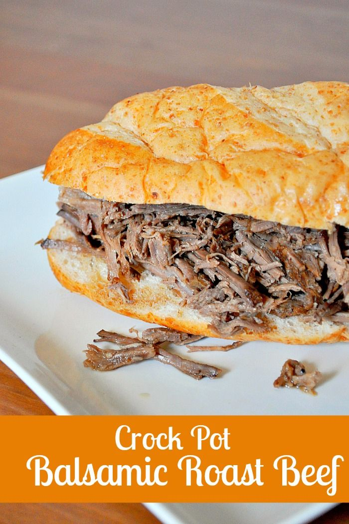 Crock Pot Balsamic Roast Beef - Perfect for a traditional meal with mashed sweet potatoes and makes amazing sandwiches! {The Love Nerds} #easydinnerideas #slowcooker #beefrecipe
