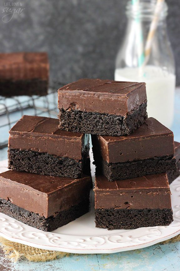 Nutella Fudge Brownies - a dense brownie topped with Nutella fudge and ...