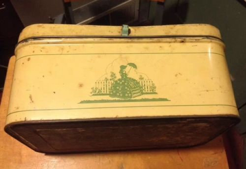 Vtg-Metal-Tin-CHEINCO-Bread-Box-Green-Yellow-Victorian-Mid-Century-Country-Old