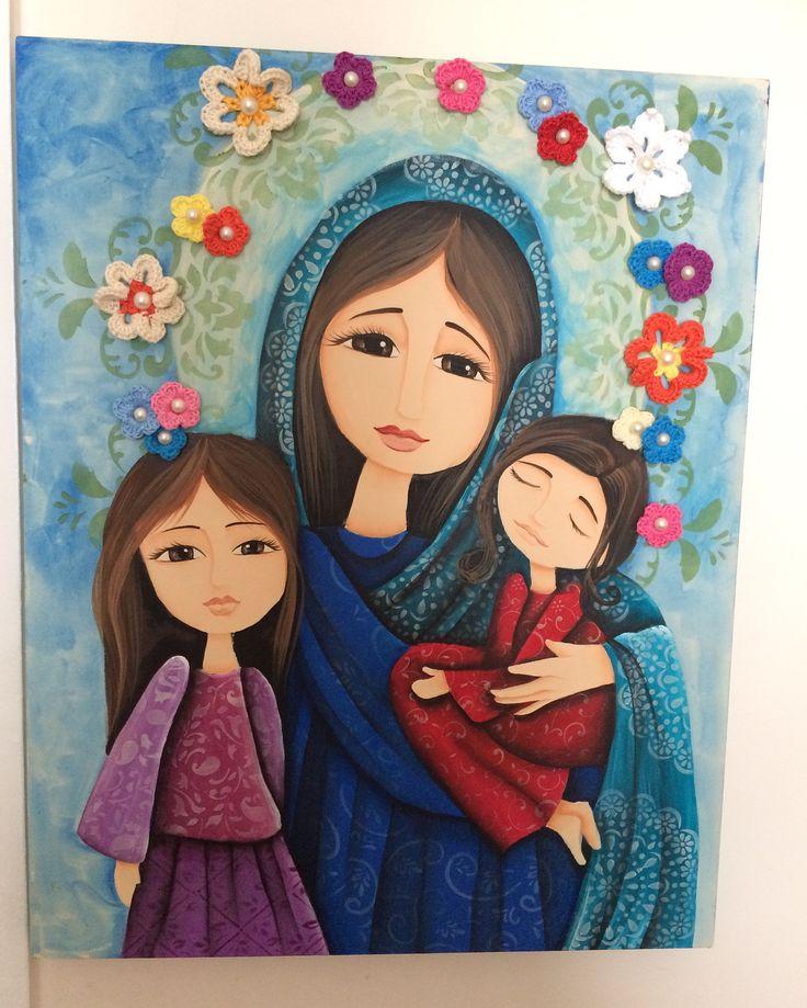 Mãe e suas filhas - Tela 40x50cm, pintura com tinta PVA e acrílica, textura com…