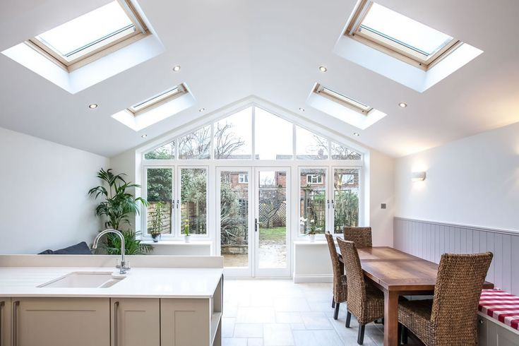 A single-storey kitchen extension by L&E (Lofts and Extensions) in Teddington - don't move extend. Pitched Roof Extension, Kitchen Design Ideas, Kitchen Extension, Skylights