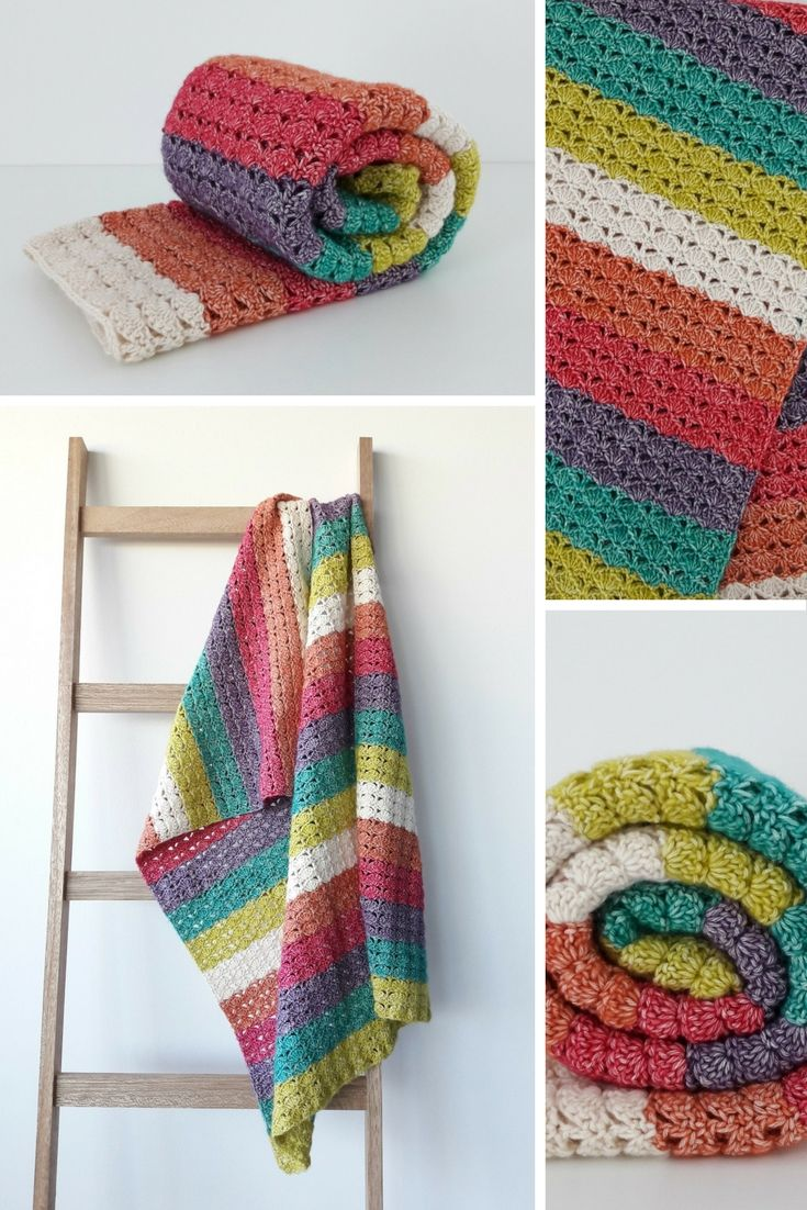 Crochet blanket: always sunshine on a cloudy day. Sea Shell Blanket. Crochet pattern (and charts) by Happy in Red