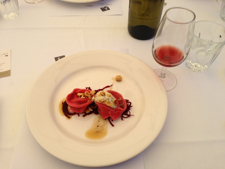 Kangaroo tail and beetroot tortellini at Grazing in #canberra #humanbrochure