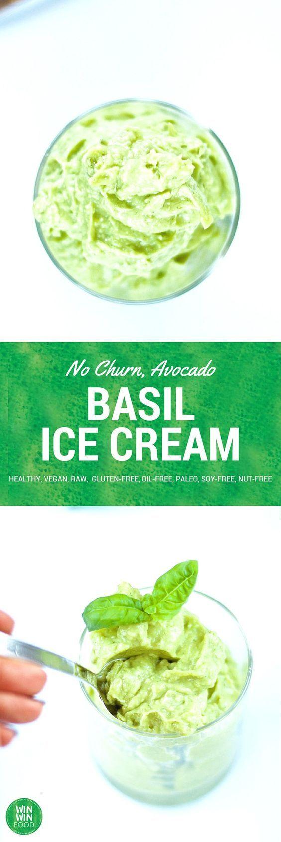 Basil Ice Cream | WIN-WINFOOD.com #healthy #vegan #raw, #glutenfree #paleo #nutfree
