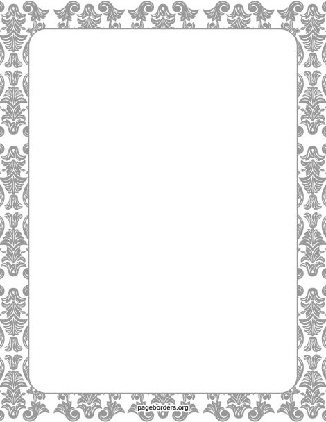 Printable damask border. Free GIF, JPG, PDF, and PNG downloads at http://pageborders.org/download/damask-border/