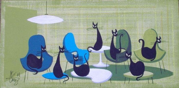 EL GATO GOMEZ PAINTING RETRO 1950S 60S MID CENTURY DANISH MODERN EAMES KNOLL CAT #Modernism