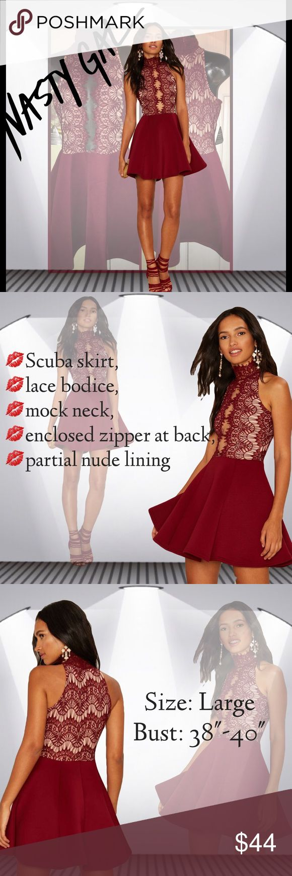 Nasty Gal Rare London Court Mesh Scuba Dress Sz. L The Hold Court Dress is burgundy and features a scuba skirt, lace bodice, mock neck, enclosed zipper at back, and partial nude lining. By Rare London. Nasty Gal Dresses Mini
