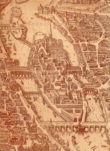 "Detail of the ""map of Paris"" by Melchior Tavernier ca. 1630"