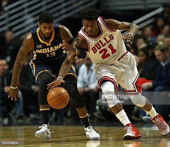 News Photo : Jimmy Butler of the Chicago Bulls and Paul George...