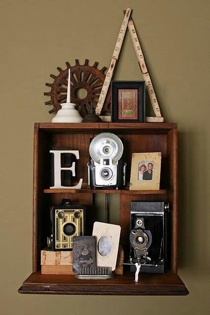 Shelf made from a dresser drawer.