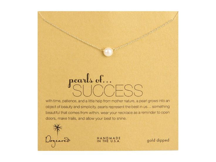 "Dogeared Pearls of Success White Pearl Necklace, Gold Dipped. 16"" sterling gold dipped chain. 5.5-6mm white freshwater button pearl. gold dipped spring ring closure. pearls of success message card."