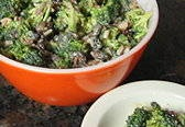 broccoli salad.  I use dried cranberries instead of raisins... also this recipe is better than most (very light on the sugar, and the balsamic adds a nice little zing).