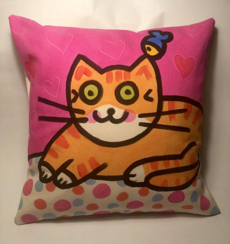 Zanimo Art + Design - Housse de coussin : Chat tigré aux petits cœurs   Zanimo Art + Design - Cushion cover: Tiger Cat with little hearts