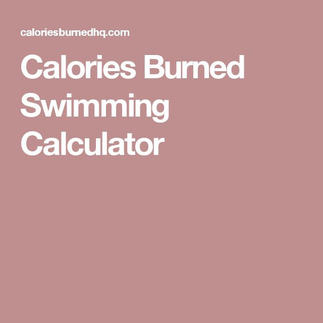 Calories Burned Swimming Calculator