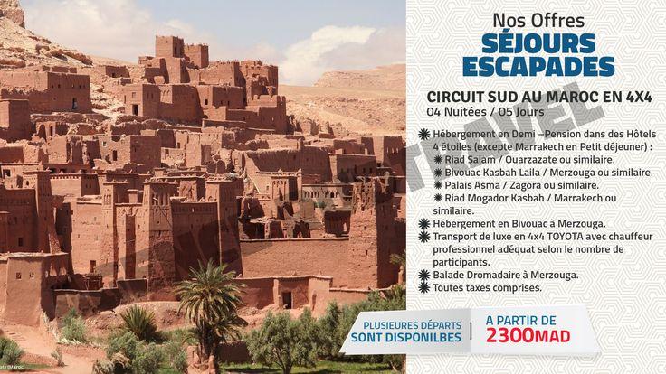 Réservez un séjour pas cher ou une escapade en promo vers la destination de vos rêves dans le monde avec l'agence RudTravel. Circuit Sud au Maroc en 4X4 : 04 Nuitées / 05 Jours.