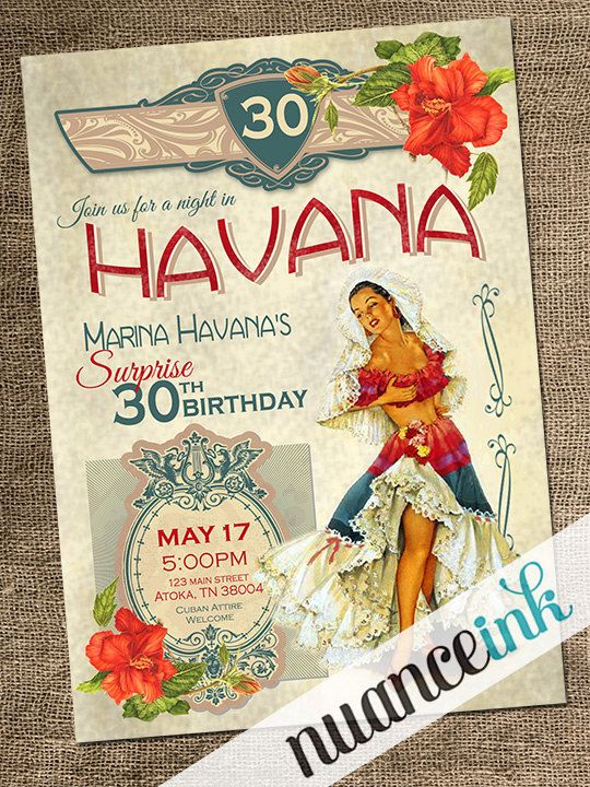 Custom Havana Nights Cuban Themed Birthday Party by NuanceInk, $15.00