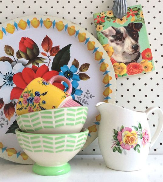 We love the blend of old and new, especially these vintage floral numbers.