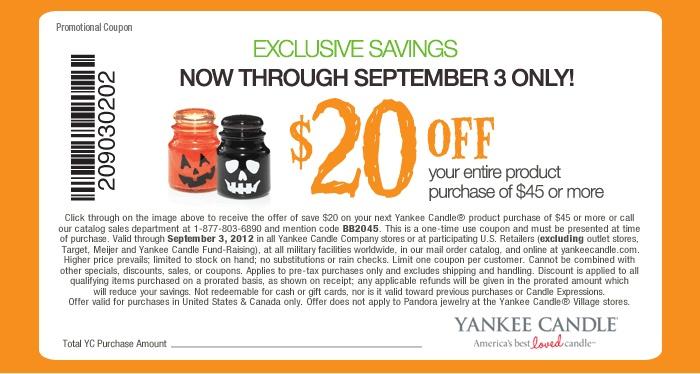 Yankee candle coupon...20 bucks off of 45! Good through