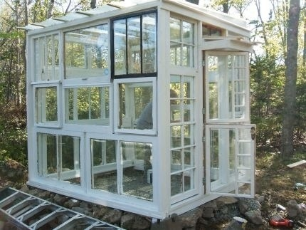 Windows turned into a greenhouse.