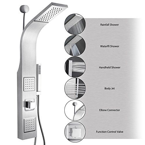 "AKDY?? 39"" Stainless Steel Wall Mount Easy Connection Rainfall Waterfall Overhead Multi-Function Shower Tower Panel Massage Spray -- Be sure to check out this awesome product."