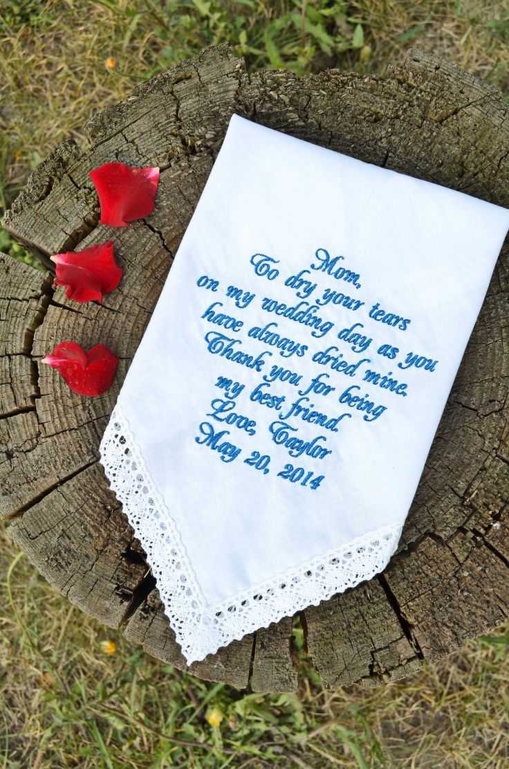 18 $ Wedding handkerchief for mother of the bride