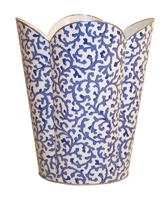 Blue White Waste Basket For Bathroom.