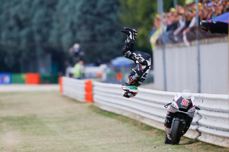 Invincible Johann! Our Johann Zarco celebrating with his customary back-flip! He has won again, in Misano, reinforcing his leading position in #Moto2 World Standing! Go Johann, Go!! #TcxRiders