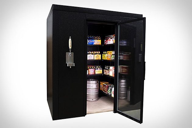 brew cave x walk-in beer cooler & kegerator with tap... need one.