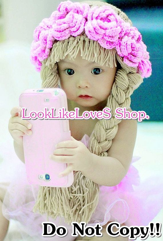"""These crochet baby hats, I found are really awesome! Baldy babies with """"wigs""""! Hahaha! Etsy listing at http://www.etsy.com/listing/161771948/flowers-hair-wig-crocheted-3m-24m"""