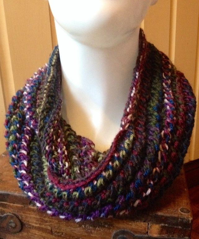 Hand Knit Lace Pattern Infinity Cowl Scarf in Self Striping Purple, Blue & Green £21.75