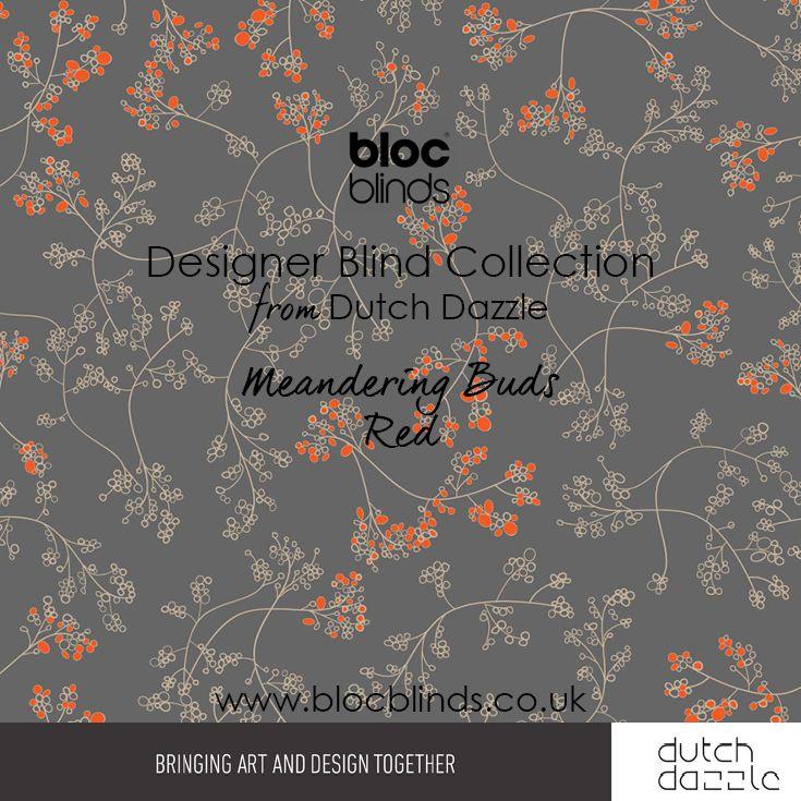 'Meandering Buds Orange' Designer Blind Fabric. Order Made to Measure Designer Blinds Online. Made in the UK. Award Winning Innovation. Be Inspired. www.blocblinds.co.uk