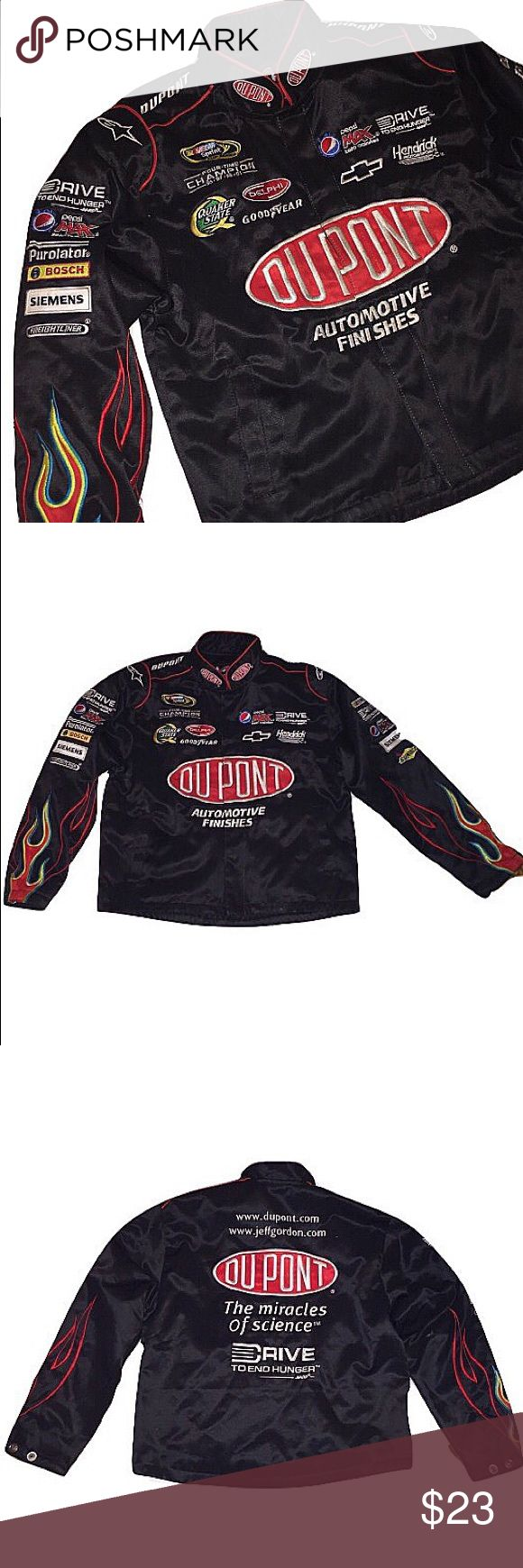 NASCAR Jacket NASCAR Jacket In Black.  Brand: NASCAR Size: Men's XSmall/ Women's Small Condition: 9/10  Comments: Flames Going Up The Sleeves & An INSANE Amount Of Patches All Over The Sleeves. If You Are Taller Than 5'3 This Piece Would NOT Fit You! NASCAR Jackets & Coats Performance Jackets
