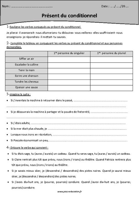 Conditionnel présent - Cm2 - Exercices corrigés - Pass Education